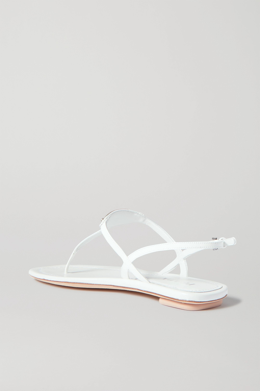 White Logo-embellished Leather Sandals | Prada