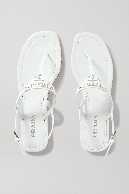 White Logo-embellished leather sandals