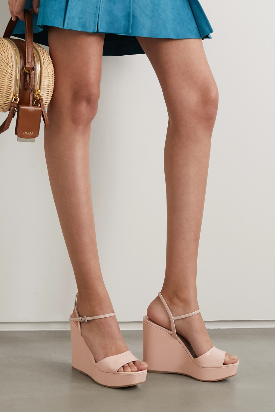 Prada Patent-leather wedge sandals