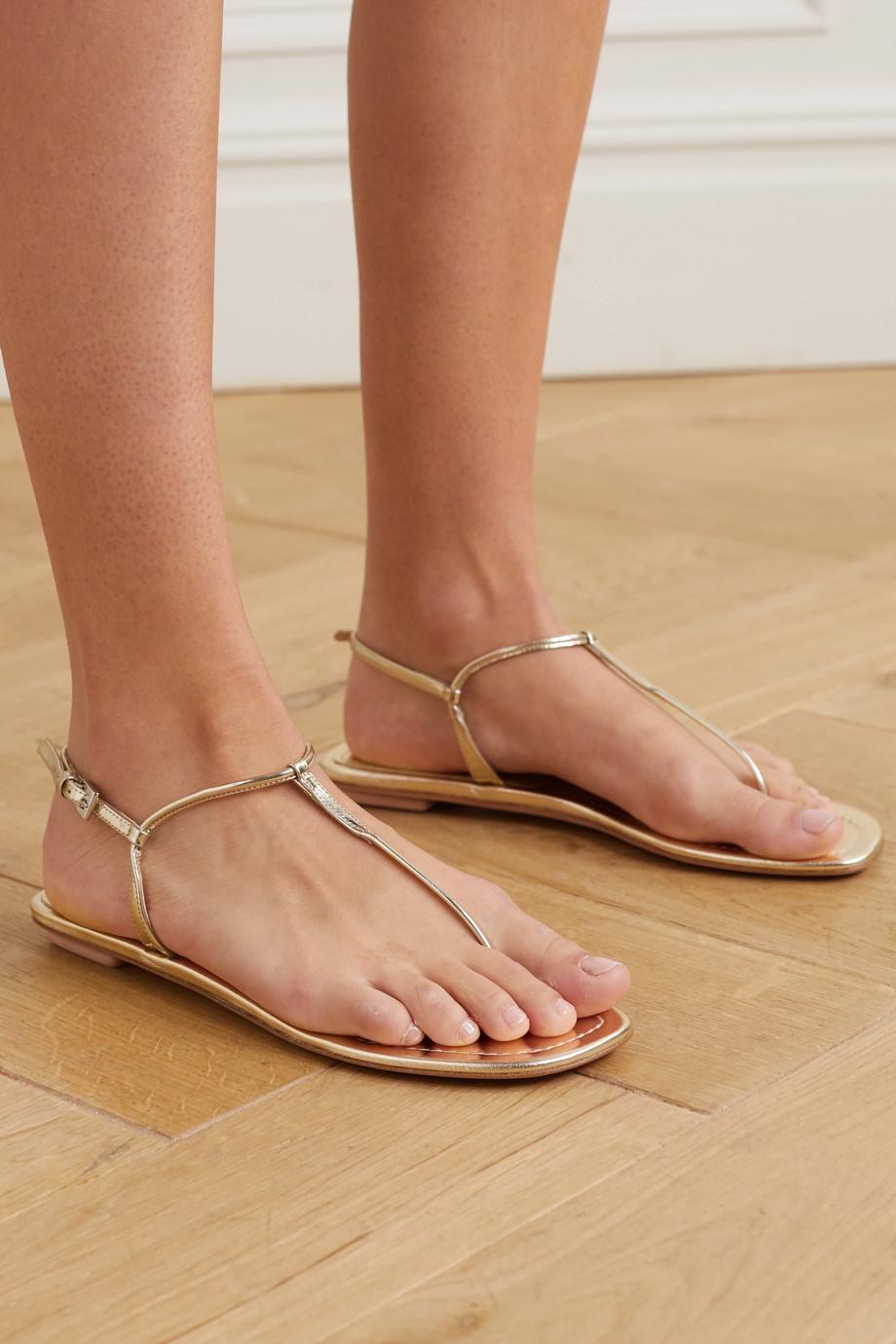 Prada Metallic leather sandals
