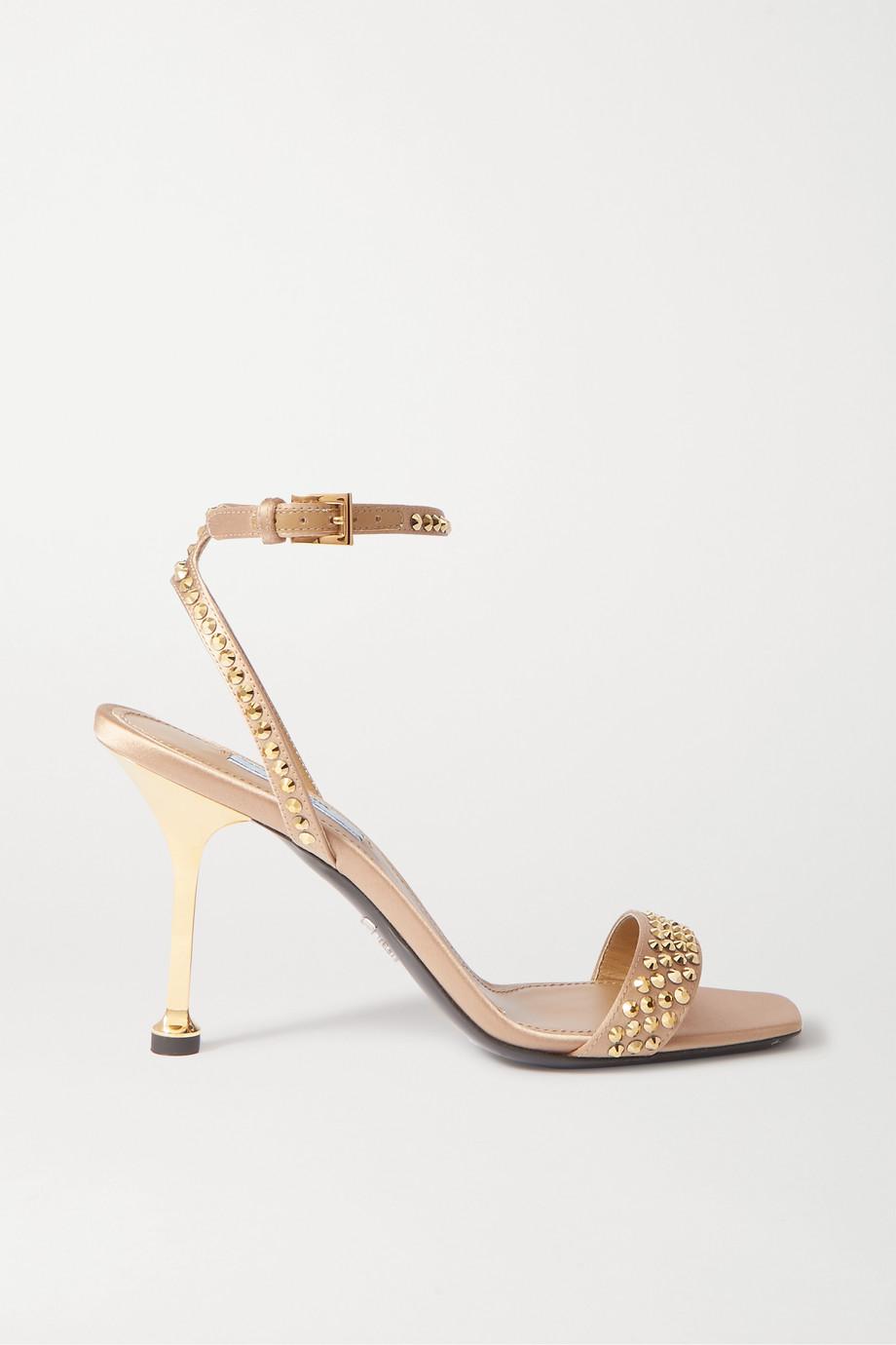 Prada Crystal-embellished satin and leather sandals