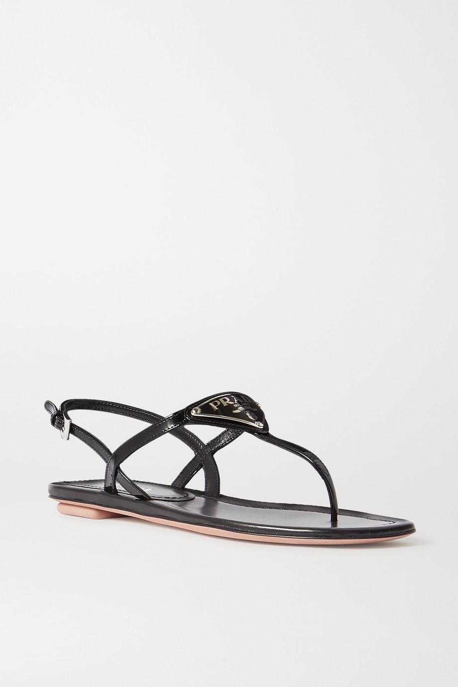 Prada Sandalen aus Lackleder mit Logoapplikation