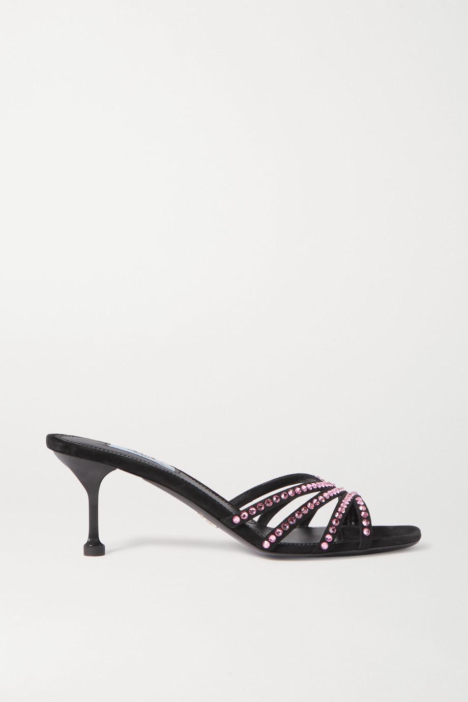 Prada 65 crystal-embellished suede mules