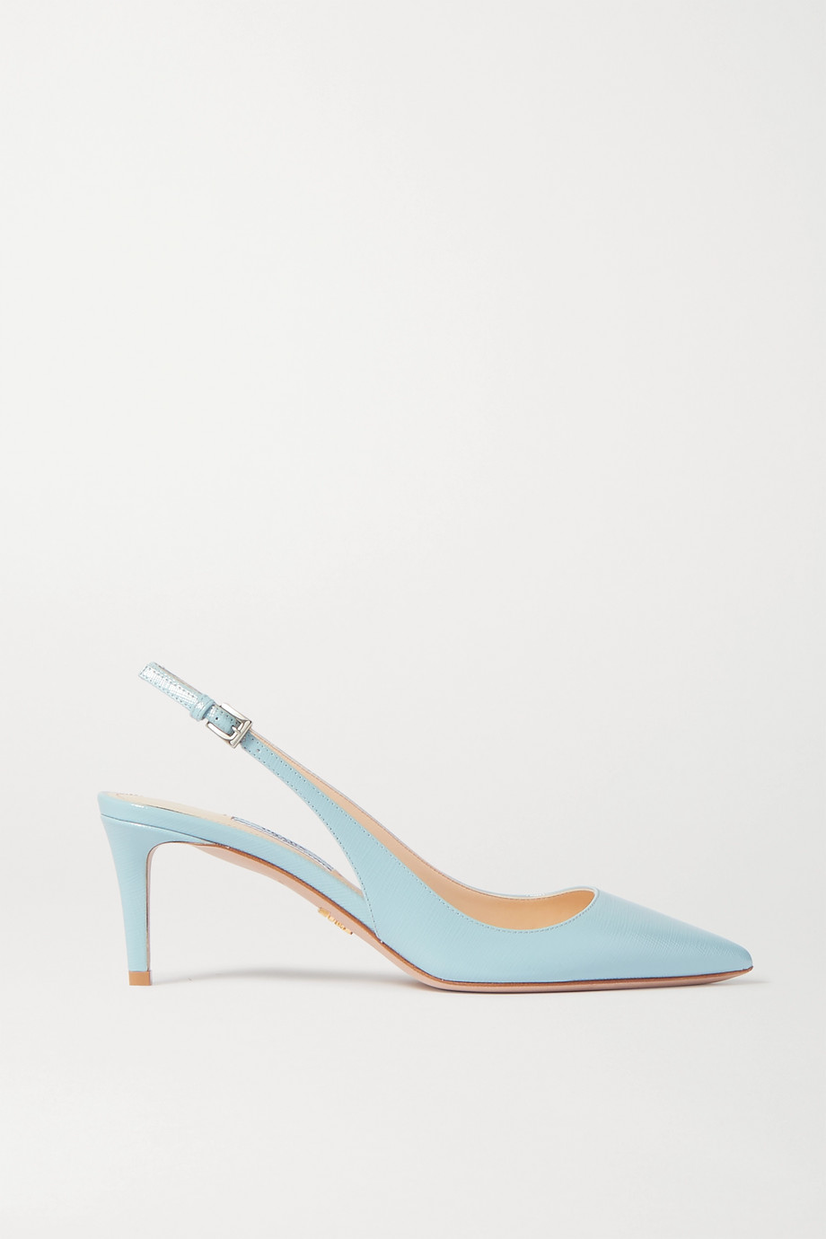 Prada 65 textured-leather slingback pumps