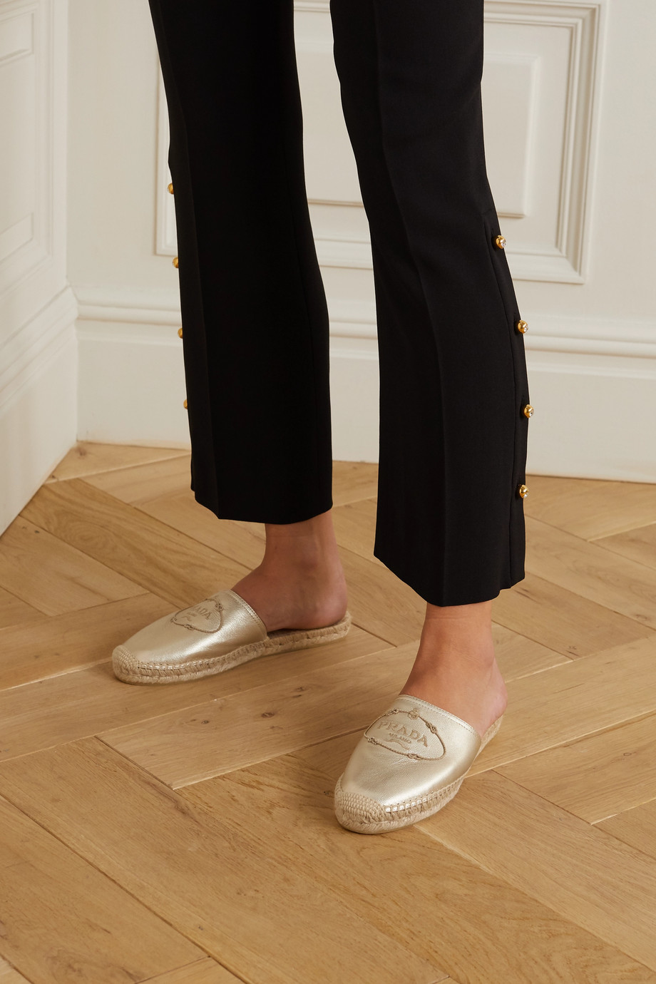 Prada Espadrille-Slippers aus Metallic-Leder mit Stickerei