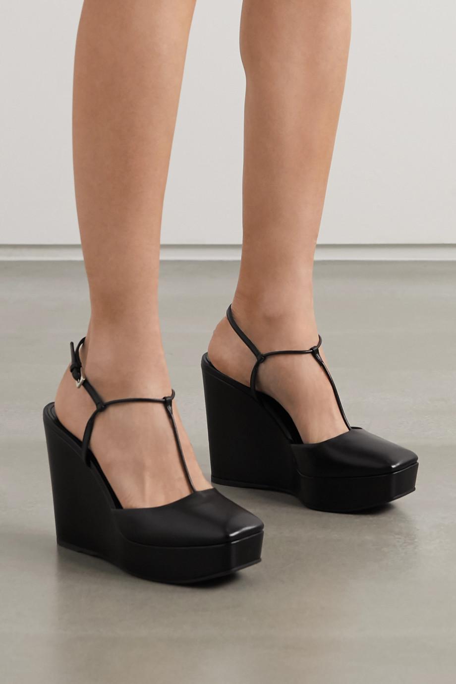 Prada 115 leather wedge sandals