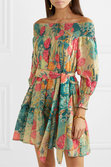 Huayna smocked floral-print cotton and silk-blend mini dress