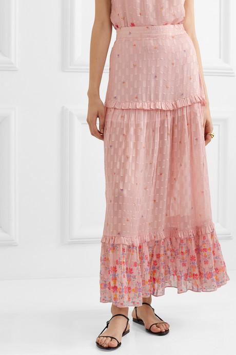 Taquile ruffled floral-print metallic fil coupé chiffon maxi skirt
