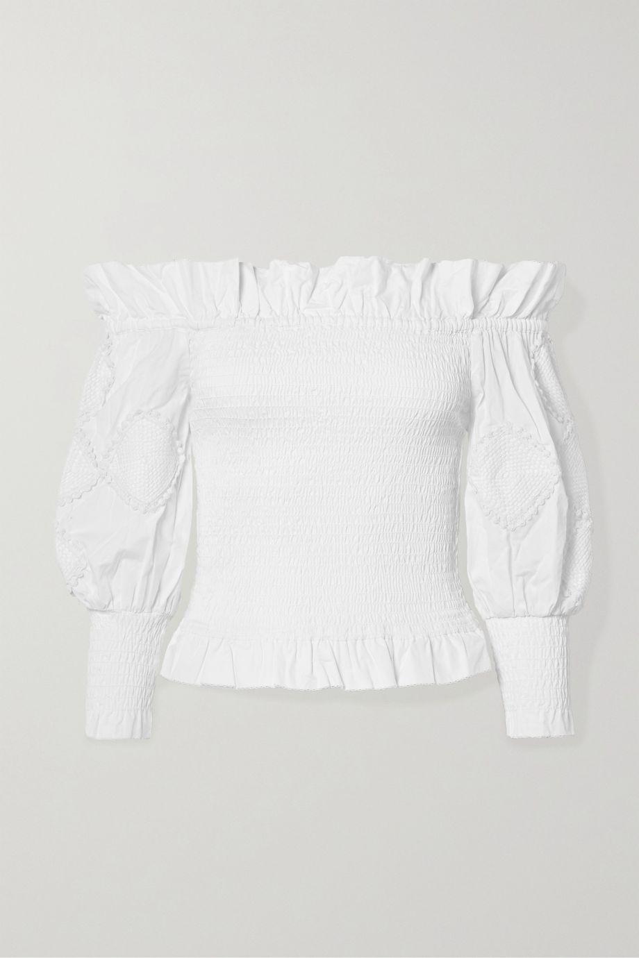Chufy Miski off-the-shoulder crochet-trimmed shirred cotton top