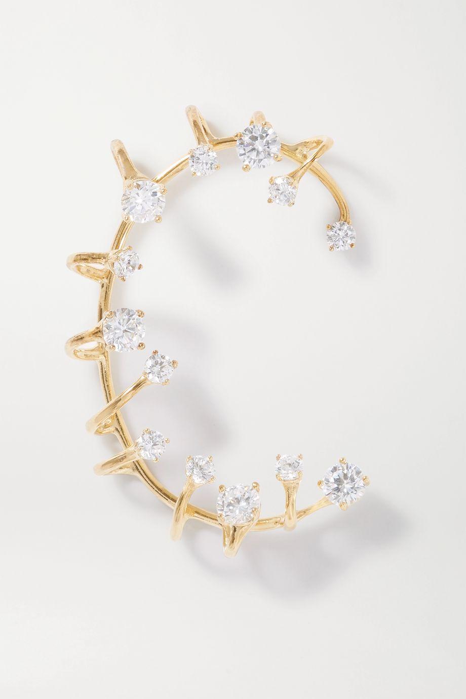 Panconesi Constellation Ear Cuff aus Gold-Vermeil mit Kristallen