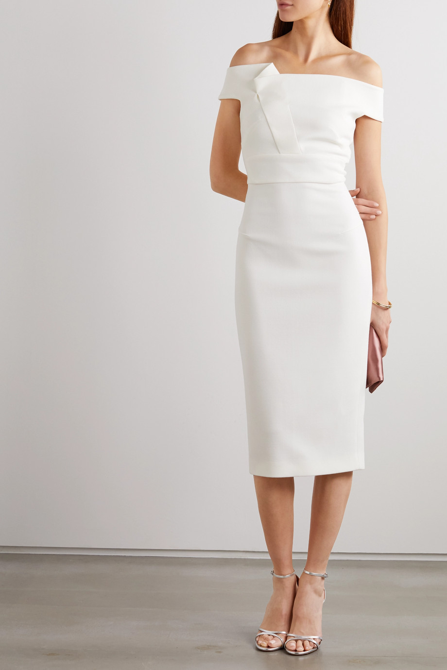 Roland Mouret Monamy off-the-shoulder wool-crepe midi dress