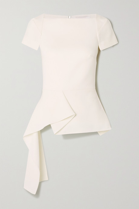 White Newhall draped wool-crepe peplum top | Roland Mouret RbgSyg