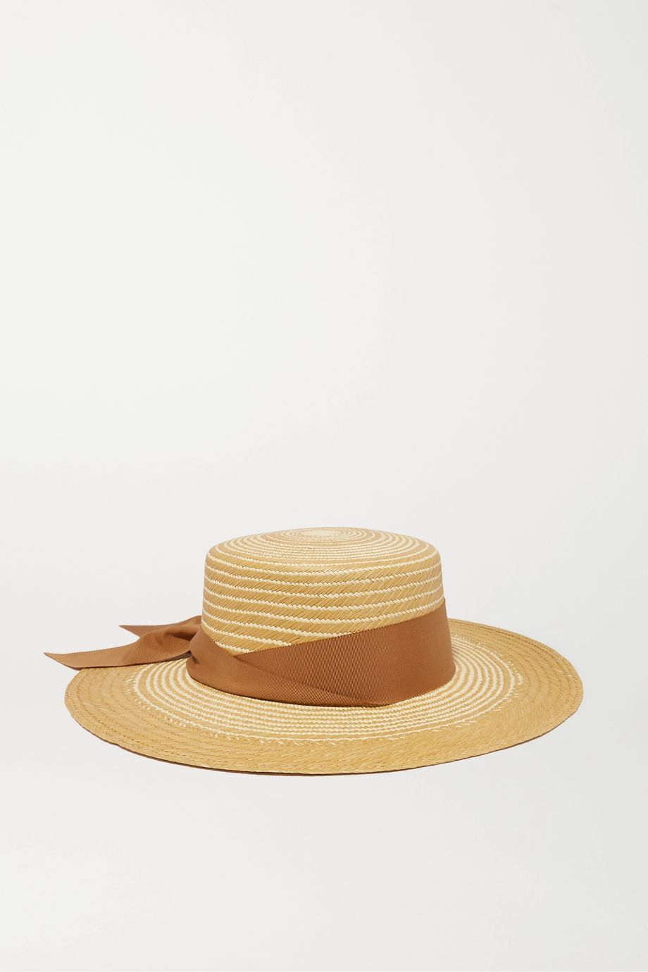Sensi Studio Cordovez grosgrain-trimmed two-tone toquilla straw hat