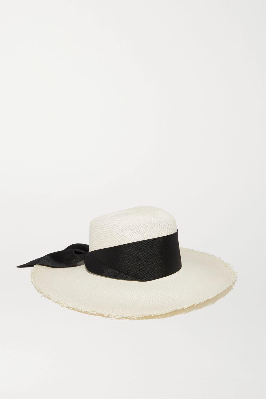 Sensi Studio Grosgrain-trimmed frayed toquilla straw Panama hat