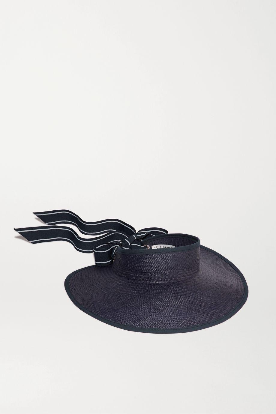 Sensi Studio Grosgrain and canvas-trimmed toquilla straw visor