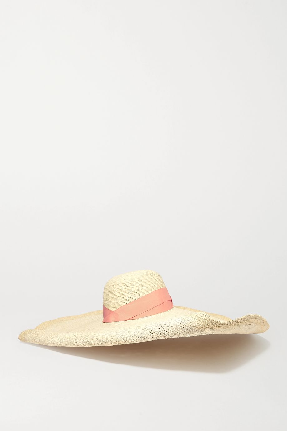 Sensi Studio Oversized grosgrain-trimmed toquilla straw hat