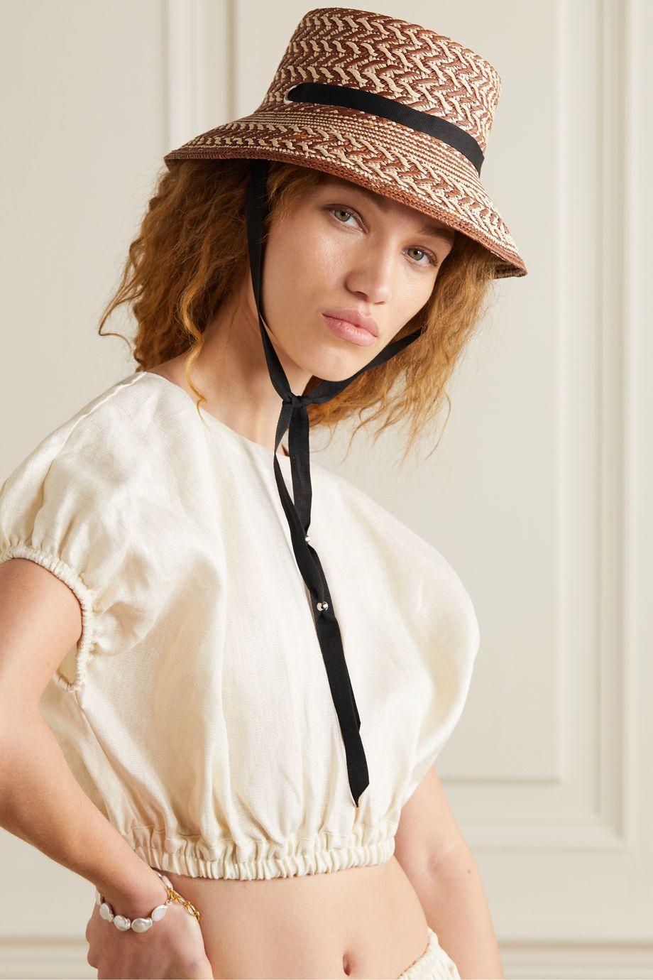 Sensi Studio Grosgrain-trimmed two-tone toquilla straw bucket hat