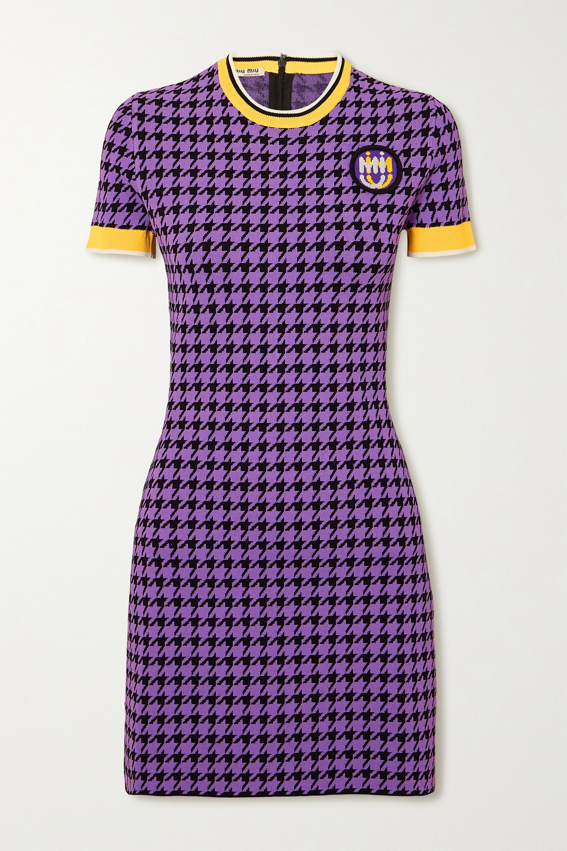 Violet Mini-robe En Mailles Stretch Pied-de-poule | Miu