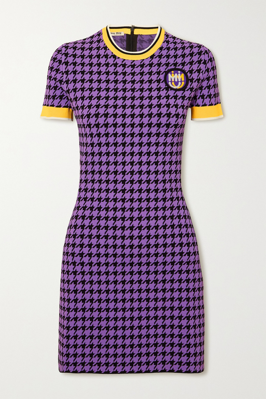 Miu Miu Houndstooth stretch-knit mini dress