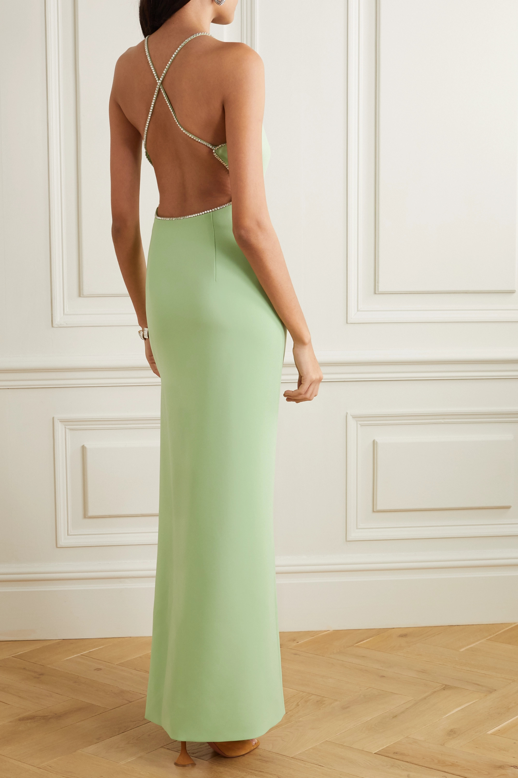 Miu Miu Open-back crystal-embellished cady gown