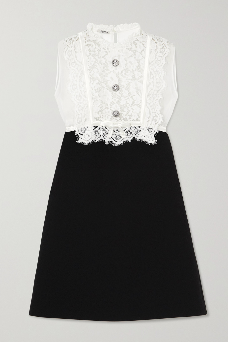 Miu Miu Crystal-embellished lace, georgette and cady mini dress