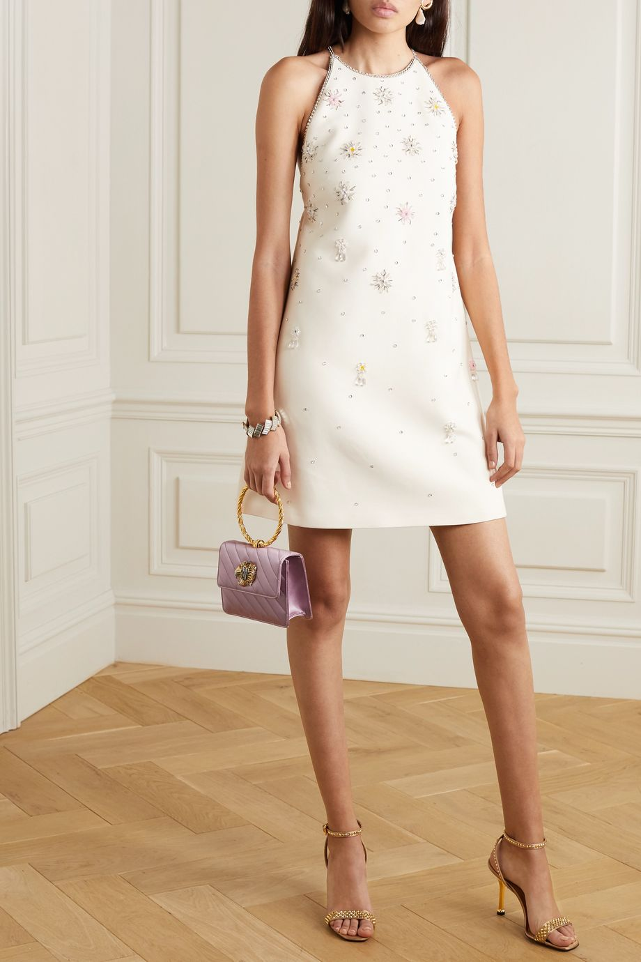 Miu Miu Crystal-embellished wool and silk-blend halterneck mini dress