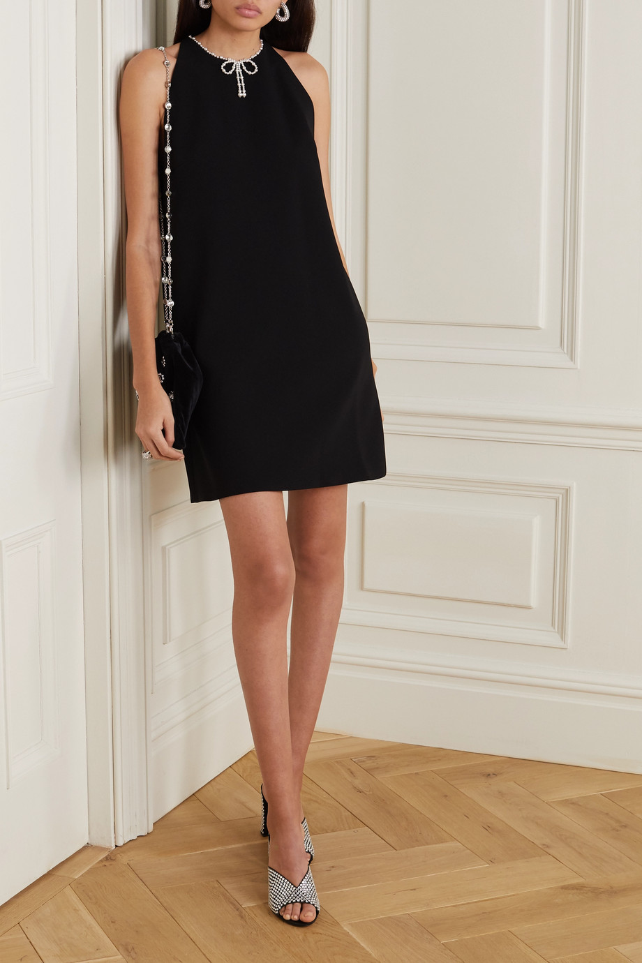 Miu Miu Faux pearl-embellished cady mini dress