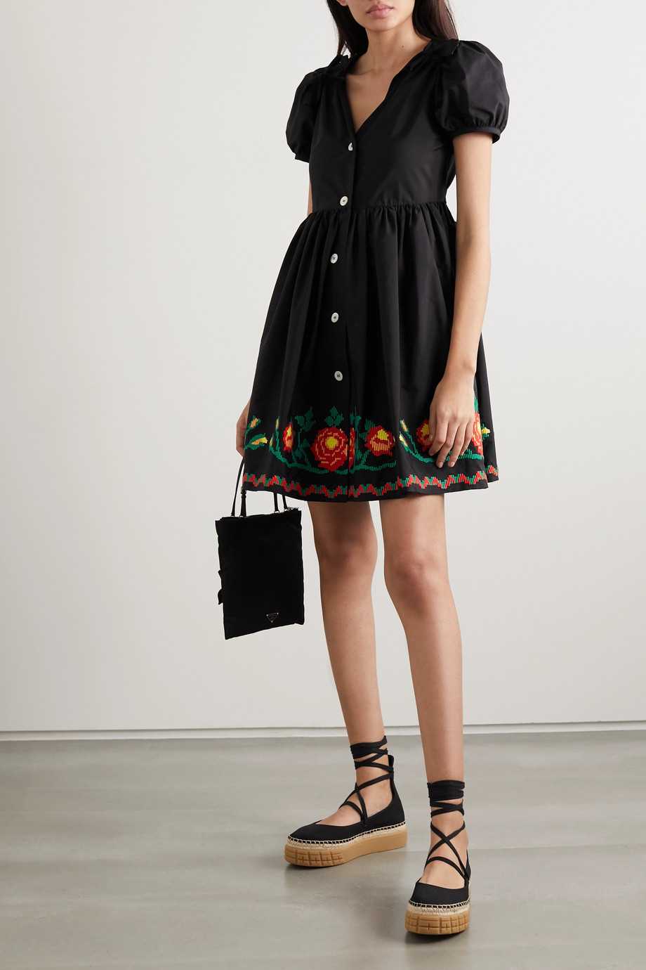 Miu Miu Embroidered cotton-blend poplin mini dress