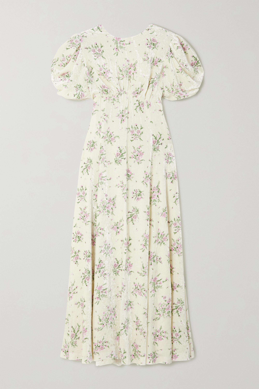 Miu Miu Midikleid aus Samt mit Blumenprint, Kristallen und Rückenausschnitt