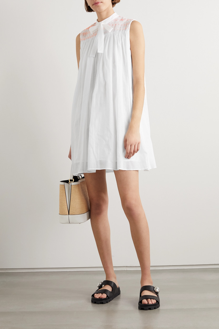 Miu Miu Embroidered smocked cotton-poplin mini dress