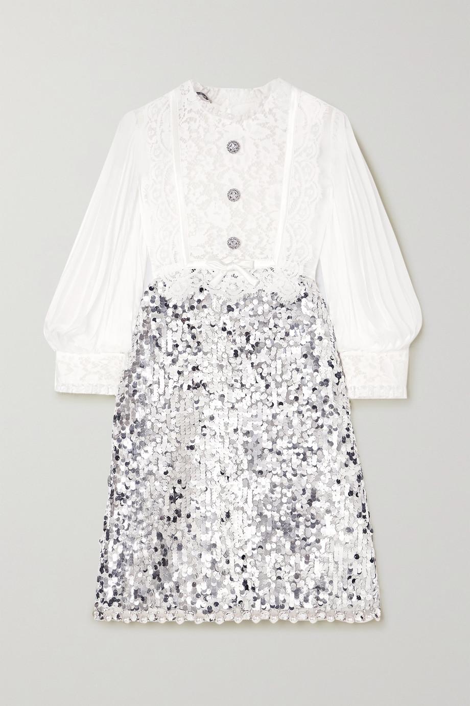 Miu Miu Minikleid aus Chiffon, Spitze und Tüll mit Verzierungen