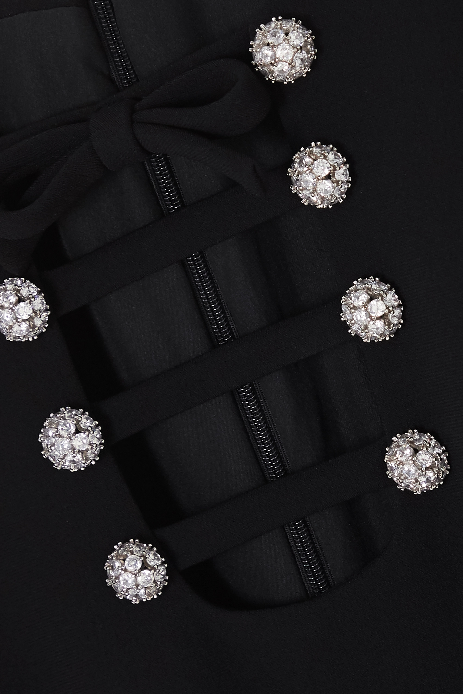 Black Cutout Crystal-embellished Cady Mini Dress | Miu