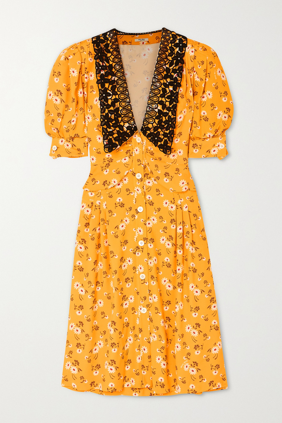 Miu Miu Lace-trimmed floral-print crepe midi dress