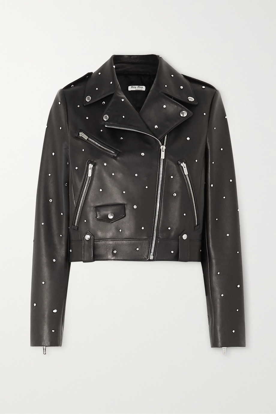 Miu Miu Crystal-embellished cropped leather biker jacket