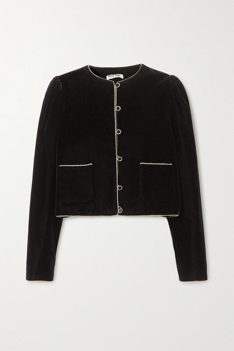 Black Rope-trimmed velvet blazer   Miu Miu a1i2wU