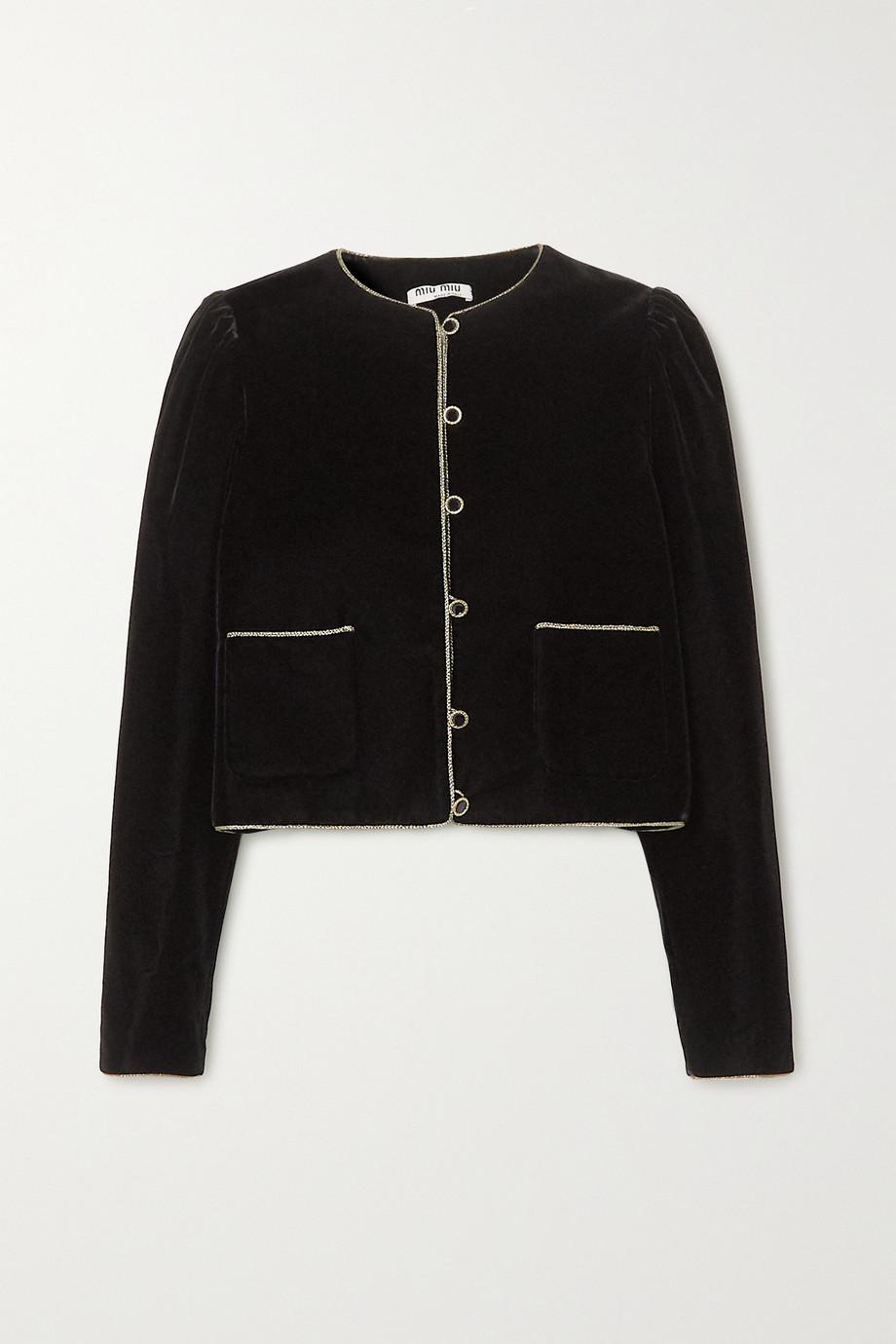 Miu Miu Rope-trimmed velvet blazer