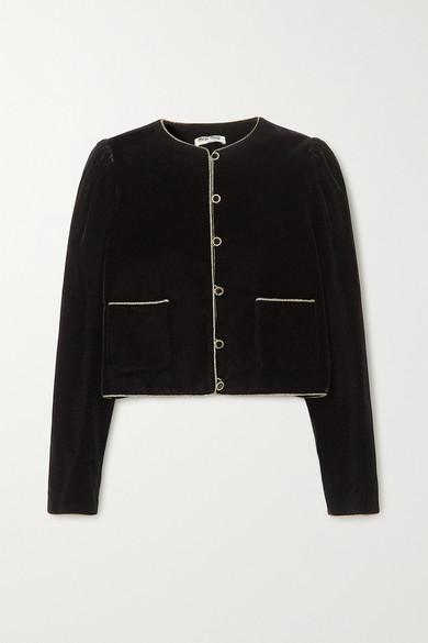 Miu Miu - Rope-trimmed Velvet Blazer - Black
