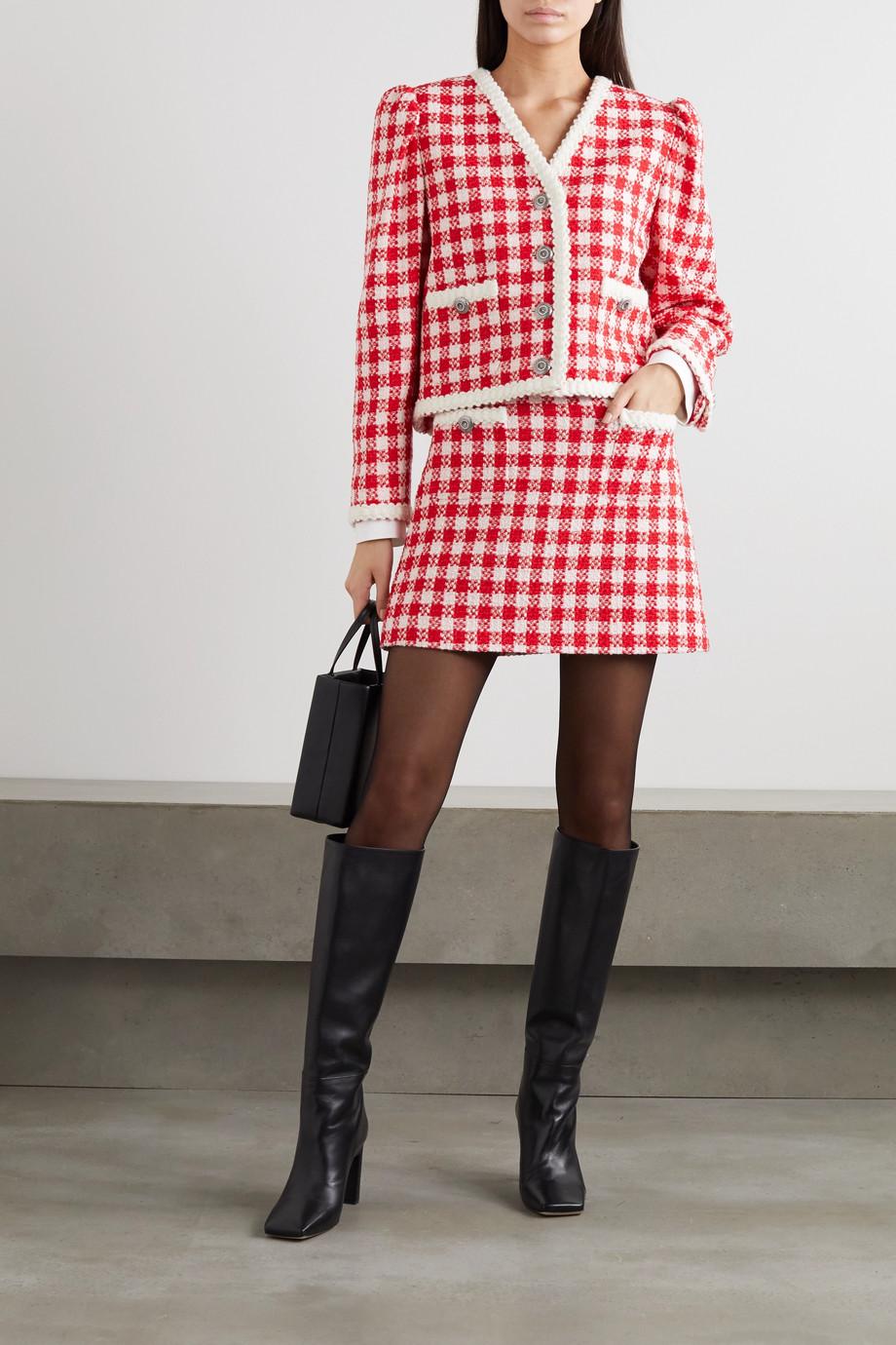 Miu Miu Blazer aus kariertem Tweed aus einer Woll-Baumwollmischung
