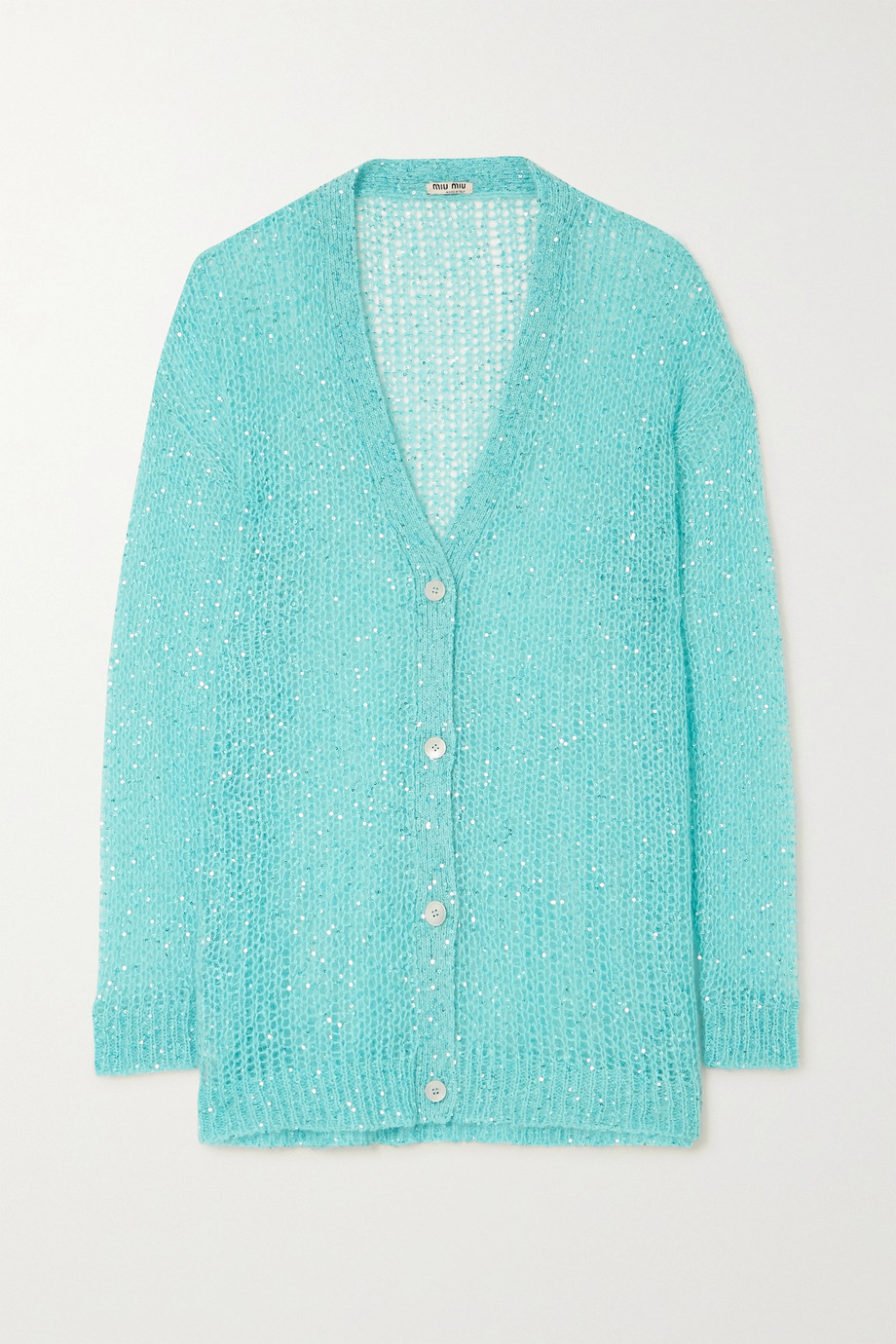 Miu Miu Sequined mohair-blend cardigan