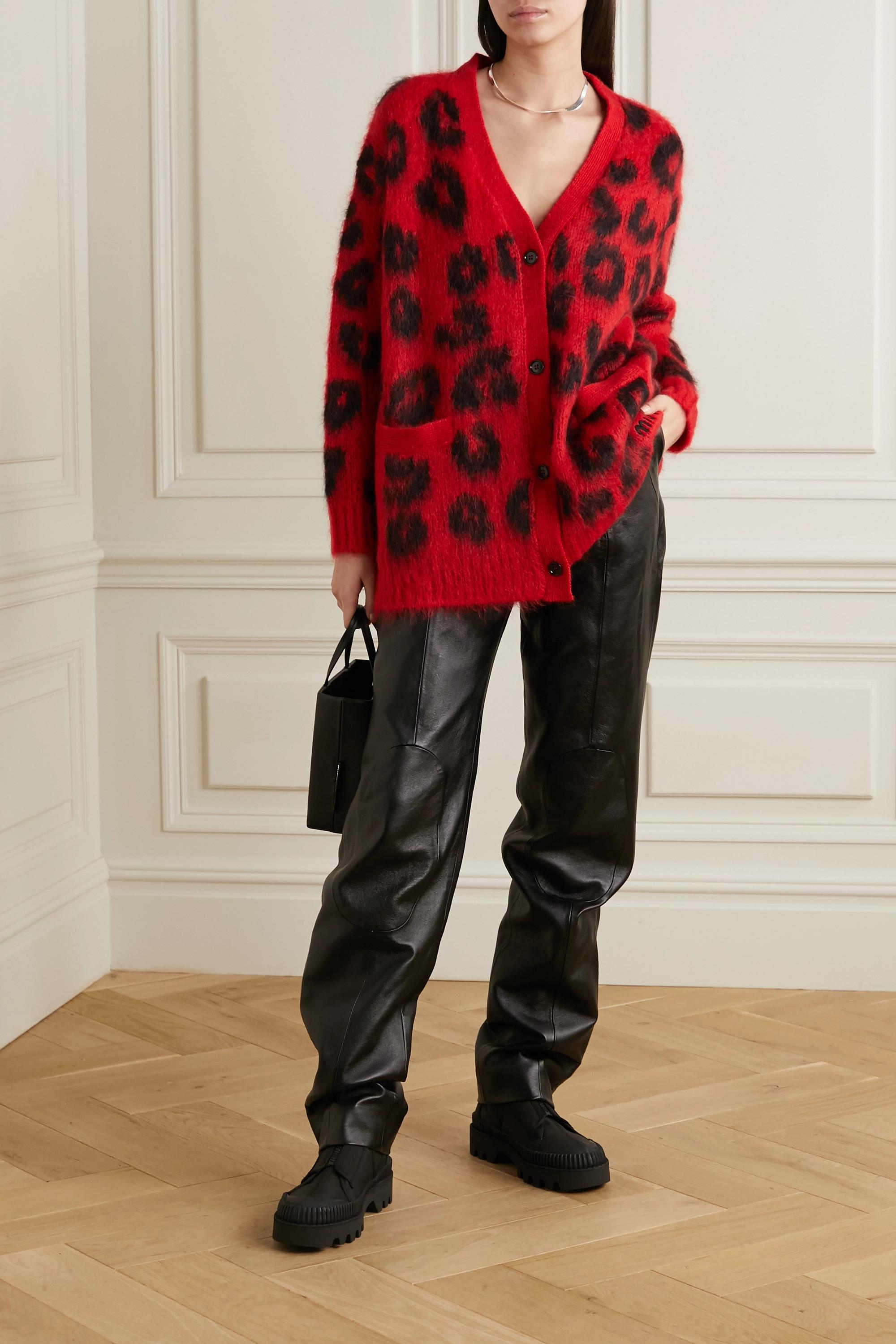 Miu Miu Leopard-intarsia mohair-blend cardigan