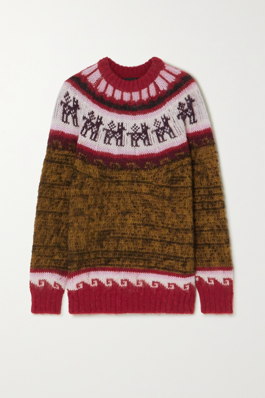 Miu Miu Oversized-Pullover aus einer Alpakawollmischung mit Fair-Isle-Muster