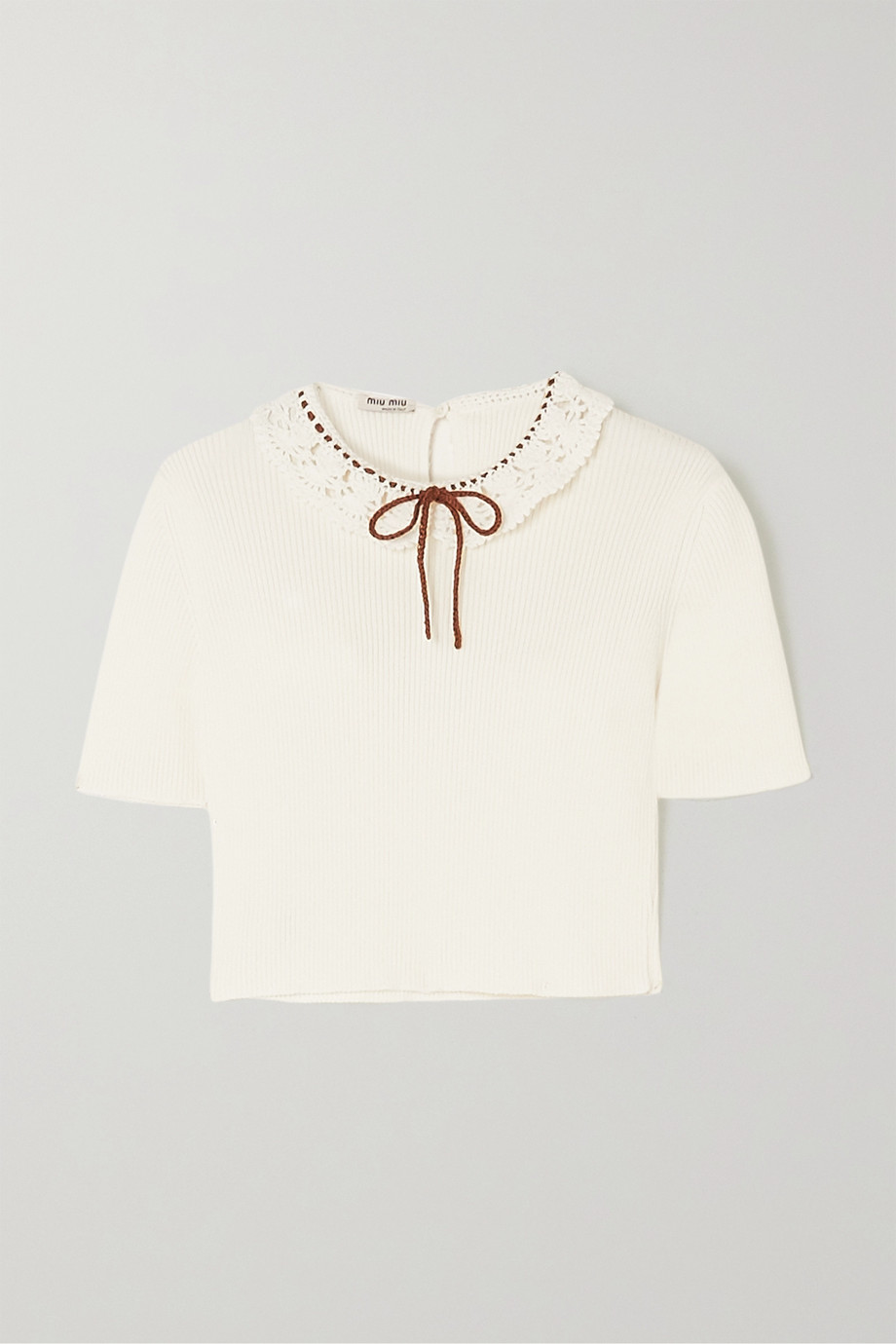 Miu Miu Cropped crochet-trimmed ribbed cotton top