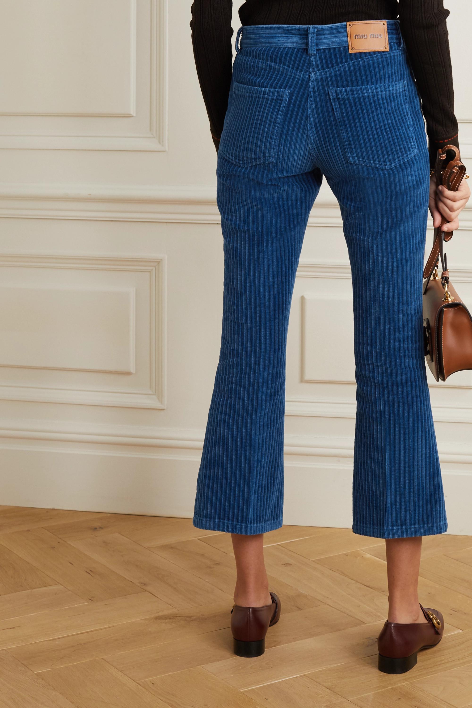 Miu Miu Cropped flared cotton-corduroy pants