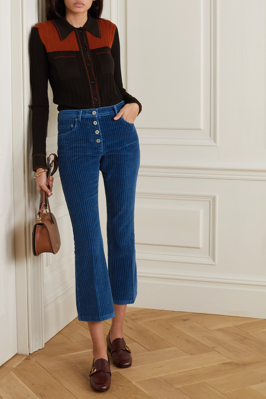 Miu Miu Cropped flared cotton-corduroy pants