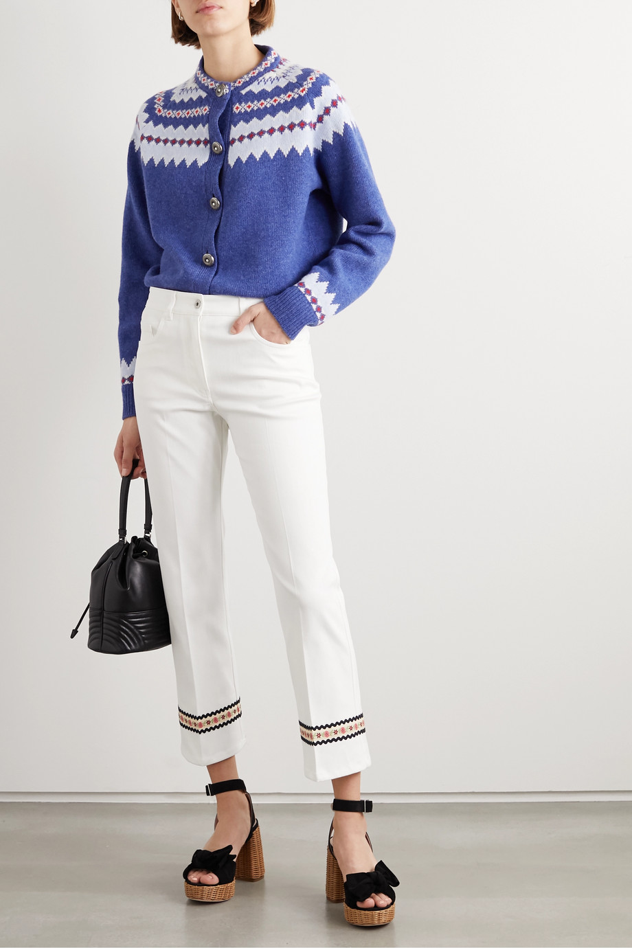Miu Miu Cropped embroidered stretch-cotton flared pants