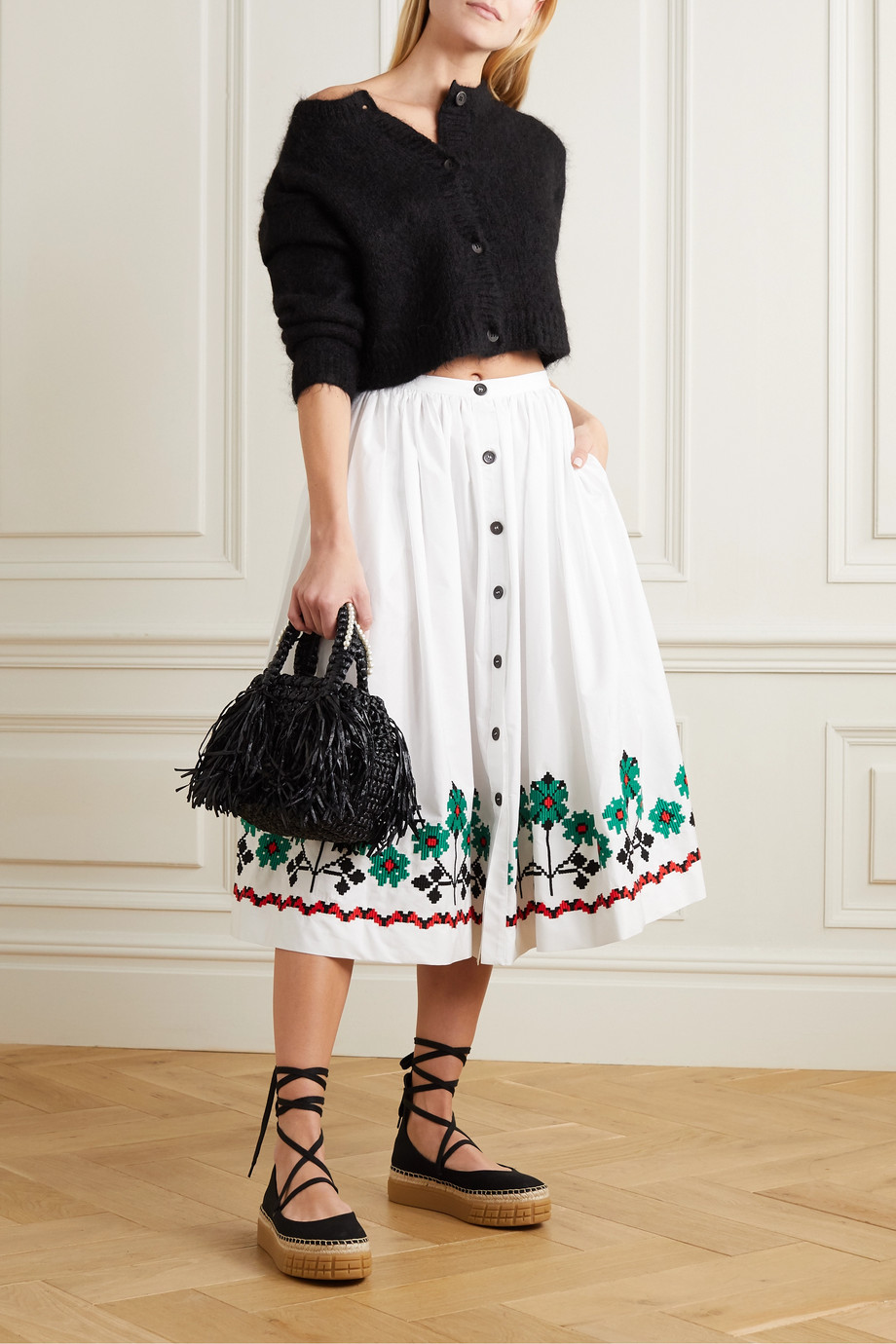 Miu Miu Embroidered cotton-blend poplin midi skirt