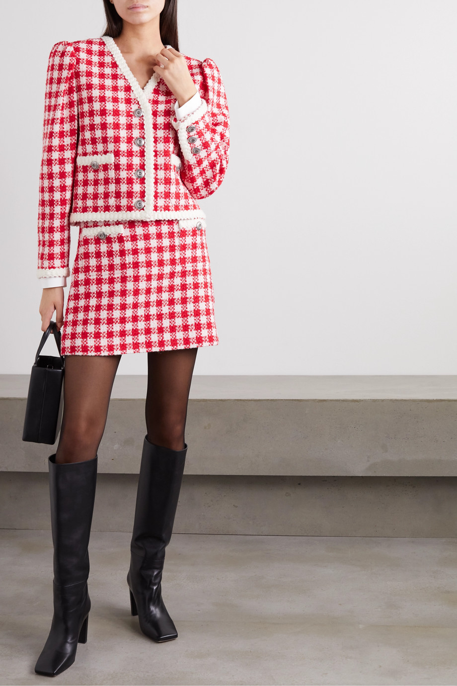 Miu Miu Checked wool and cotton-blend tweed mini skirt