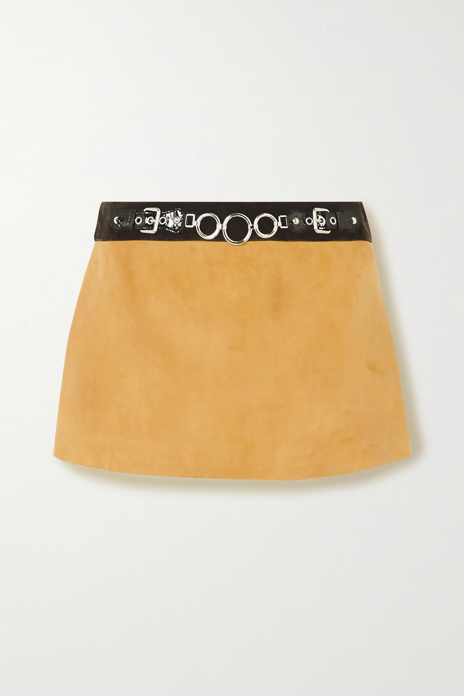 Miu Miu Verzierter Minirock aus Veloursleder mit Lacklederbesatz