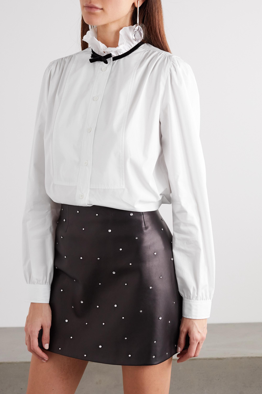 Miu Miu Bow-detailed cotton-poplin blouse