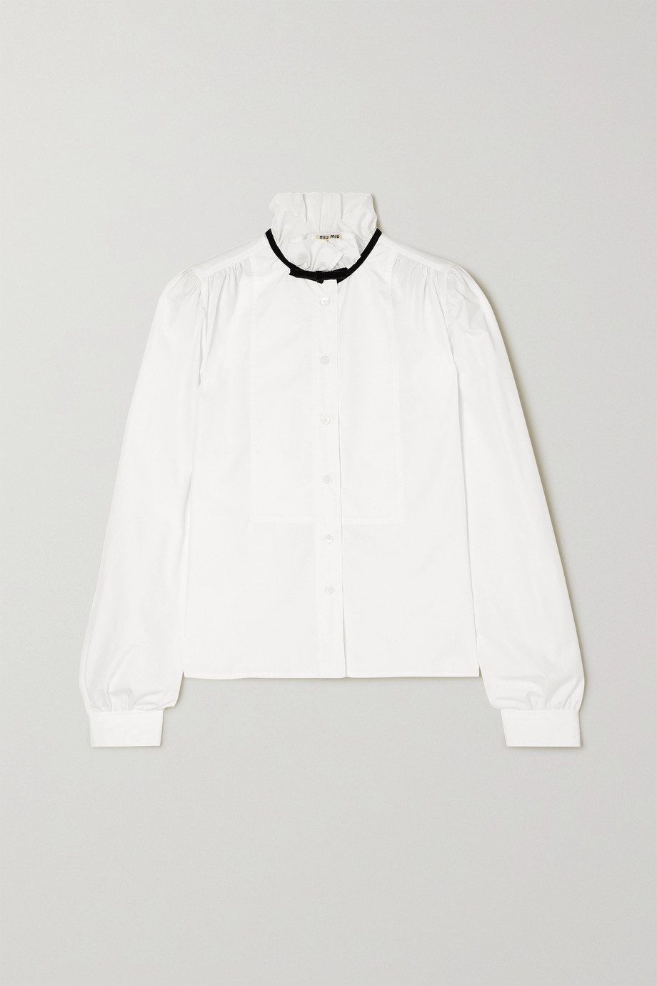 Miu Miu Bow-detailed cotton-poplin blouse